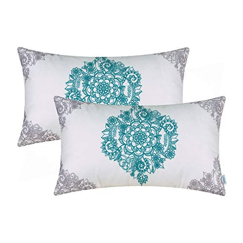 For Accent Beds Pillows (CaliTime Pack of 2 Cozy Bolster Pillow Cases Covers for Couch Bed Sofa Manual Hand Painted Print Vintage Mandala Flora 12 X 20 Inches Grey/Teal)