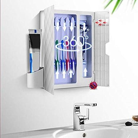 Color : Silver Brosse /à dents ultraviolet st/érilisateur mural Porte-brosse /à dents Organisateur Dentifrice Distributeur for R/ÉGLER Salle de bains avec 5 Brosse /à dents holding