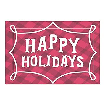 red Plaid Window Cling Happy Holidays 30x20 5-Pack CGSignLab