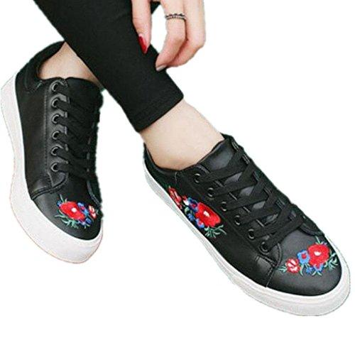 Pequeños Aumentado Zapatos Bordado Cómodo Grueso BLACK PU Blancos Señora 35 Punto Zapatos 39 Agujero Fondo Estudiantes XIE Movimiento Diario zx1qwn