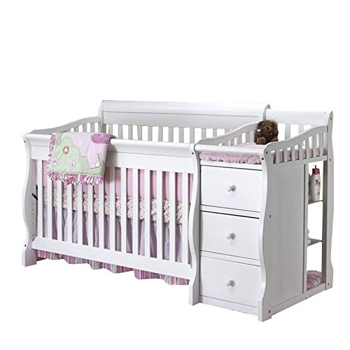 Sorelle Tuscany 4 in 1 Convertible Crib and Changer Combo in White -