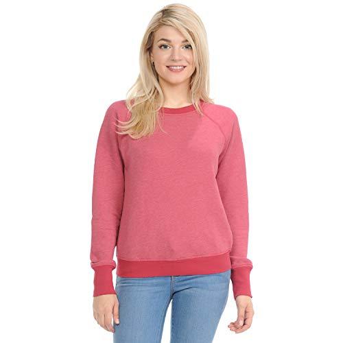 Raglan Crew Sweatshirt - Yuro-K Women's Premium Long Sleeve Crew Neck Vintage Raglan Sweatshirt Pullover (X-Large, Rojo)