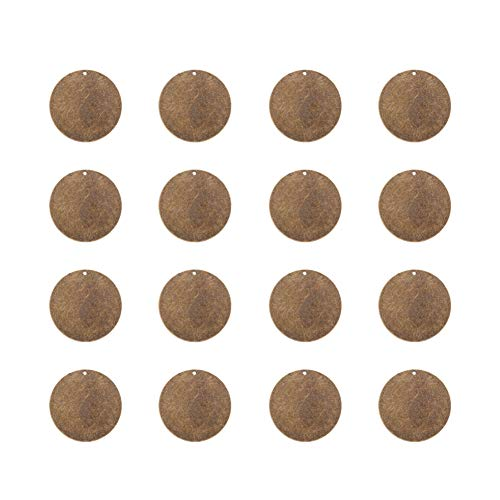 PandaHall Elite 50 Pcs Brass Flat Round Blank Stamping Tag Pendants Charms 34x0.5mm Jewelry Making Antique Bronze