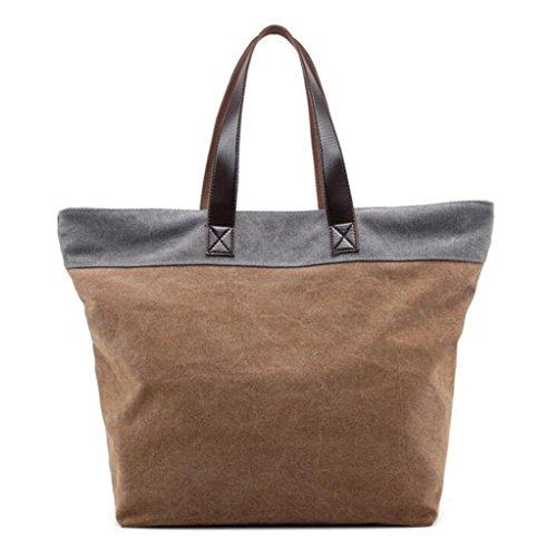 Sucastle sacchetti di svago sacchetto di modo del sacchetto di spalla di tela retro borsa bag Sucastle Colore:Marrone e grigio Dimensione:38x35x16cm
