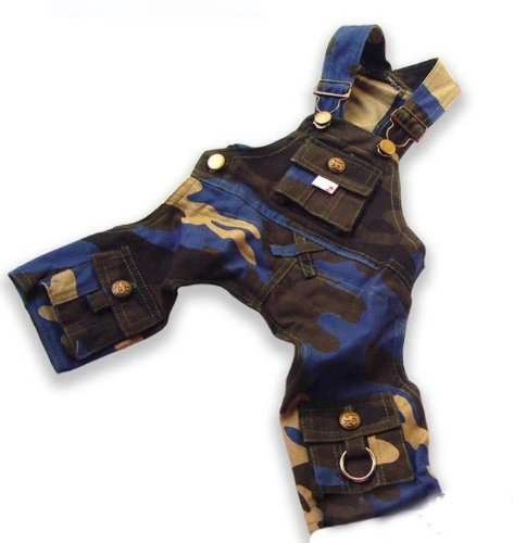 Cute Dog's Blue Camouflage Overall Pants & Shirt-Size X-Small by Step