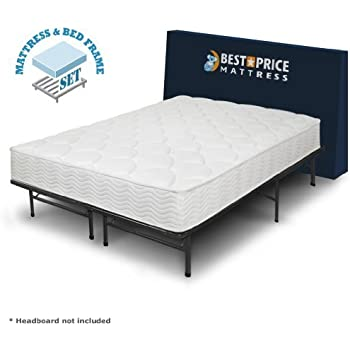 best price mattress 8 inch tight top icoil spring mattress and metal platform bed frame set queen