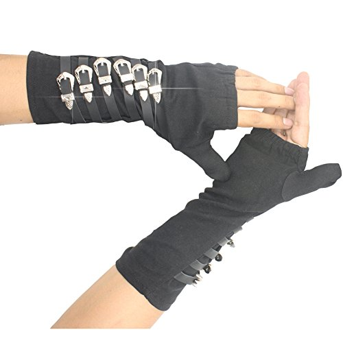 Thriller9 Michael Jackson Gloves Classic MJ BAD Tour Punk Dirty Diana Arm Braces Gloves Black 1Pair -