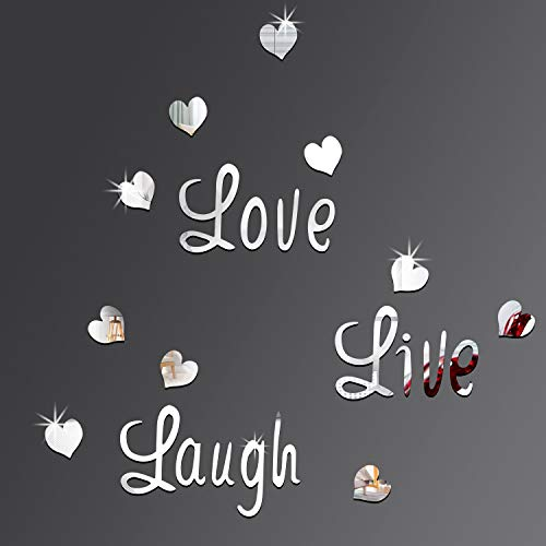 DIY Silver Love Live Laugh Heart Mirror Combination 3D Mirror Wall Stickers Home Decoration (Silver Love Live Laugh… 1