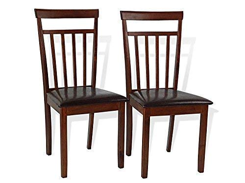 Set of 2 Dining Kitchen Side Chairs Warm Solid Wooden Padded Seat in Dark Walnut Finish Padded Seat