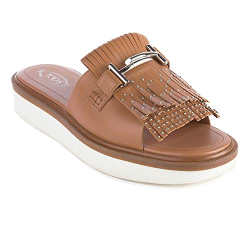 Fringe Sandal Tod's Brown Leather Shoes Women's ZqqwEY6