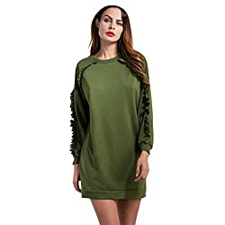 Fapizi ♥ Women Blouse ♥ Women Sweater Pullover Fringe Top Coat Long Sleeve Sweatshirt (S, Army Green)