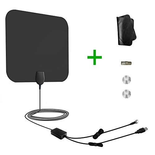 TV Antenna,Amplified Indoor HDTV Antenna 50 Mils Range with Detachable Amplifier Signal Booster,165FT Coax Cable Made for Urban Families Downtown Area Smart TV Antenna - Black