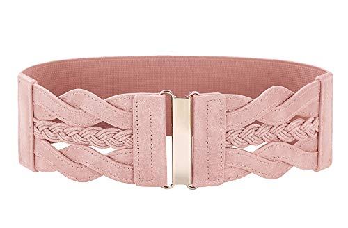 (Women 50s Elastic Stretchy Retro Wide Waist Cinch Belt)