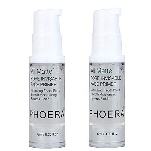 2Pcs PHOERA Pro Makeup Primer, Long Lasting Hydrating Smoothing Isolated Moisturizing Oil Free Effect Make Up Base Matte Face Foundation Primer