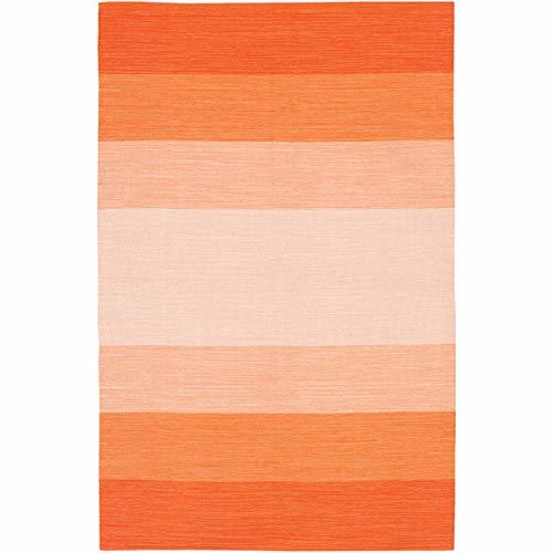 - Artist's Loom Flatweave Contemporary Stripe Pattern Cotton Rug (2'x3')(Set of 3) Orange