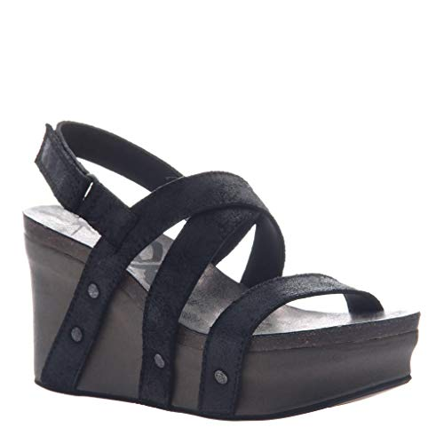 OTBT Women's Sail Wedge Sandals - Black Suede - 9 M US