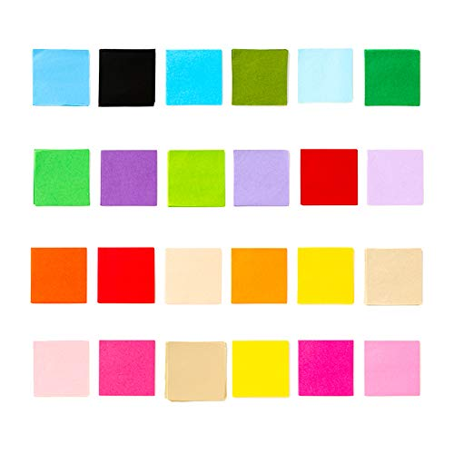 Exquiss 2400 Sheets Tissue Paper Squares 4 inch Bulk 24 Colors for Art Paper Craft Scrunch Art Kids Craft DIY Craft Tracing Scrapbooking Embellishments Mural ()