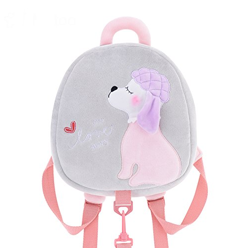 Me Too Kids Leash Bags Toddler Plush Backpack with Safety Harness Playful Preschool Kids Lunch Bag for Little Children(12-36M) Grey Poodle Dog 10.5''