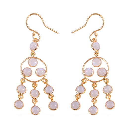 (Dangle Drop Earrings 925 Sterling Silver Vermeil Yellow Gold Round White Moonstone Gift Jewelry for)