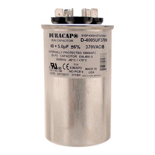 "Duracap USA Run Capacitor 40+5 UF 40/5 MFD 370 VAC 2"" Round"