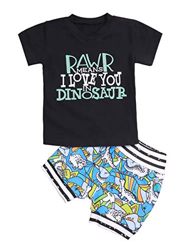 Toddler Baby Boy Clothes Summer Short Sleeve T-Shirt + Dinosaur Pant 2Pcs Outfits Set (Black, 2-3 Years)]()