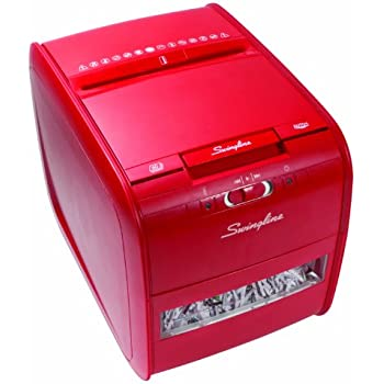 Swingline Paper Shredder, Auto Feed, 60 Sheet Capacity, Cross-Cut, 1 User, Personal, Stack-and-Shred 60X, Red (1757579)