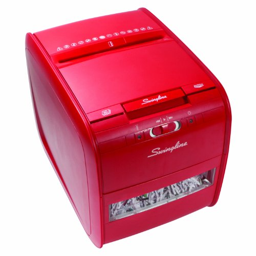 (Swingline Paper Shredder, Stack-and-Shred 60X Auto Feed, Cross-Cut, 60 Sheets, 1 User, Red (1757579))