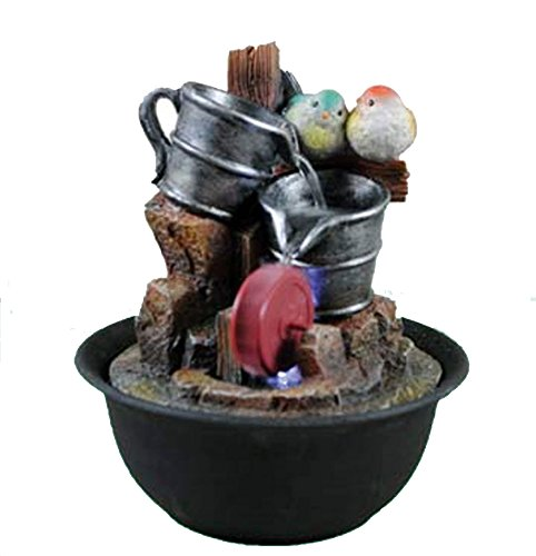 Indoor Tabletop Home Decor Water Fountain Decoration with LED Lights (Serene Birds) (Water Fountains Indoors compare prices)