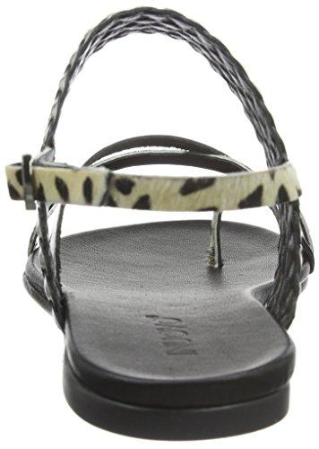 Inuovo 6217 - Sandalias de Talón Abierto Mujer Varios Colores - Mehrfarbig (CHEETAH-PEWTER)