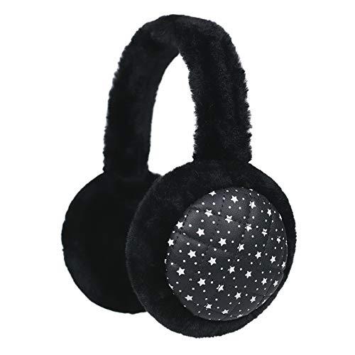 Flammi Unisex Fluffy Earmuffs Classic Winter Outdoor Ear Warmers (Black)