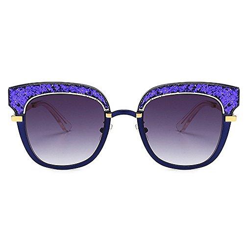 de Peggy nylon UV de Fiesta de de Protección gato sol la de conducción de vacaciones de acetato sol Gafas Ojos lente de mujer personalidad de Gu Marco Color de fibra Azul Gafas Silver xgHrx1