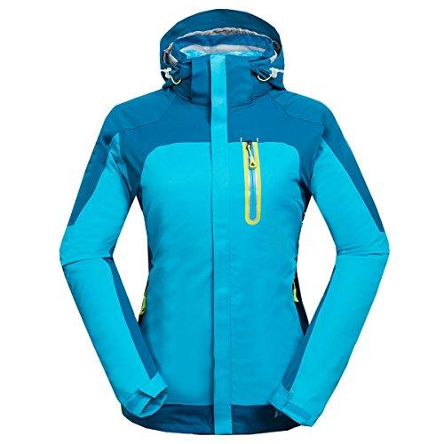 emansmoer Damen 3 in 1 Wasserdicht Atmungsaktiv Windjacke Outdoor Sport Camping Wandern Trekking Jacke mit Warme Fleecejacke (Medium, Blau)