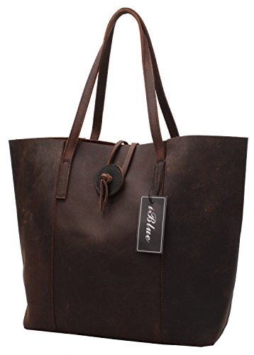 Genuine Leather Tote Shoulder Handbags Iblue Large Shopper Top Handle Bag 16 Inch #w1 (l Brown-2) #w1 Brown-2