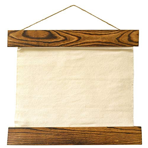 Canvas Tapestry with Wood Bars and Jute Hanger. Approximately 12 inches x 12 inches