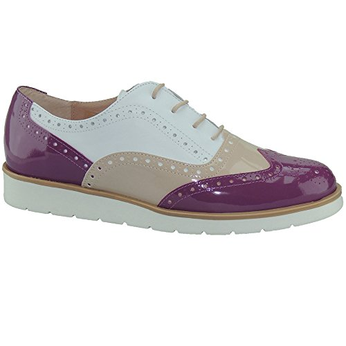 Bloc Piso Piel Modelo Blanco Mujer con En Oxford Charol Blanco y Burdeos Beig MYLTHO Zapato para 96008 0qgR8