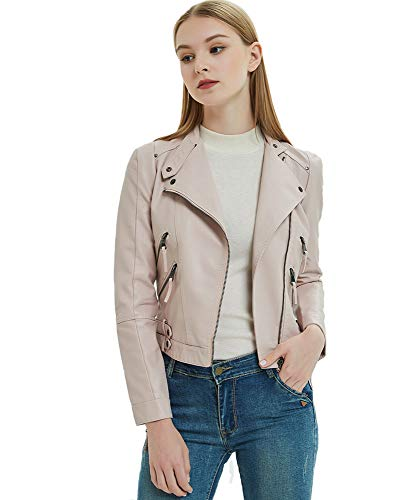 (Girl Faux Leather Jacket Motorcycle Coat PU Faux Leather Slim Fit Moto Jacket Light Pink)