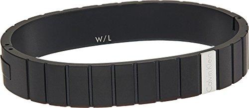 Calvin Klein Mens Plate Closed Bangle Bracelet Silver/Black LG One (Calvin Klein Mens Bracelet)