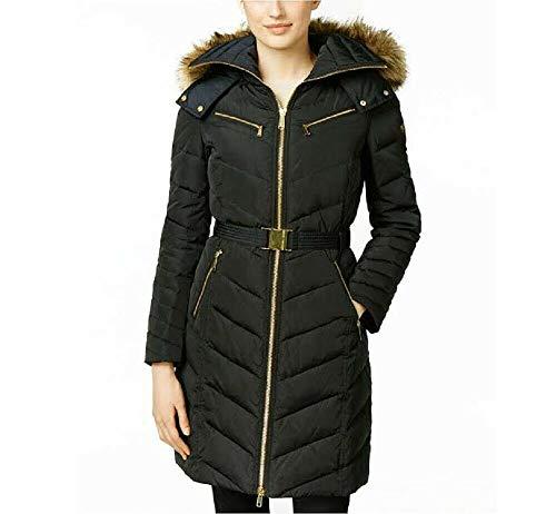 Kors Michael Trench - Michael Michael Kors Black Down Coat Zipper Chest Belted (XS)