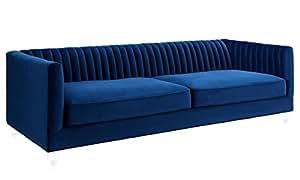 TOV Furniture The Aviator Collection Modern Velvet Upholstered Living Room Sofa with Lucite Legs, Navy