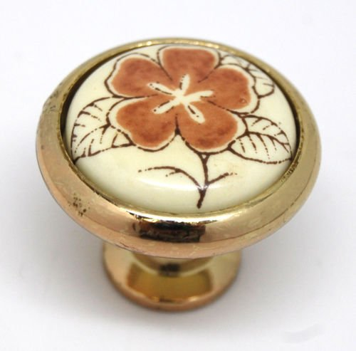 Ceramic Insert Brass Knob Cabinet Door Drawer Dresser Pull Flower Circle (1 Pc)