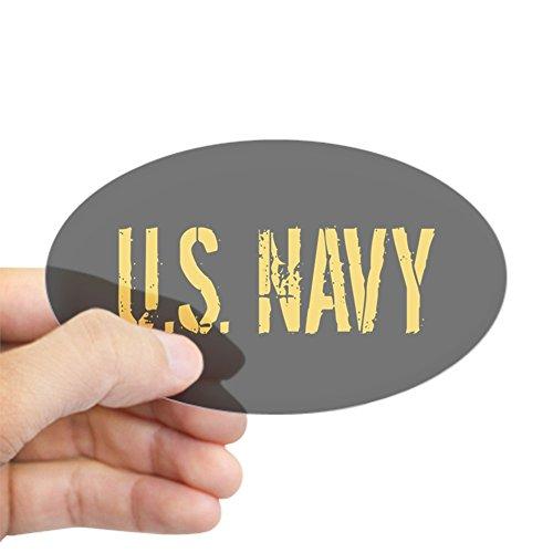 CafePress U.S. Navy: Black & Gold Sticker Oval Bumper Sticker, Euro Oval Car Decal