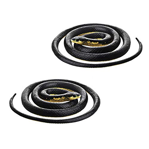 DE-Realistic Rubber Black Mamba Snake Toy 52 Inch Long,Set of 2 -