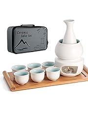 Ceramic Sake Set with Warmer Pot Bamboo Tray, Stovetop Traditional Porcelain Japanese Pottery Hot Saki Drink, 10pcs Set 1 Stove 1 Warming Bowl 1 Sake Bottle 1 Tray 6 Cup Keep + Sake Storage Gift Box (White)