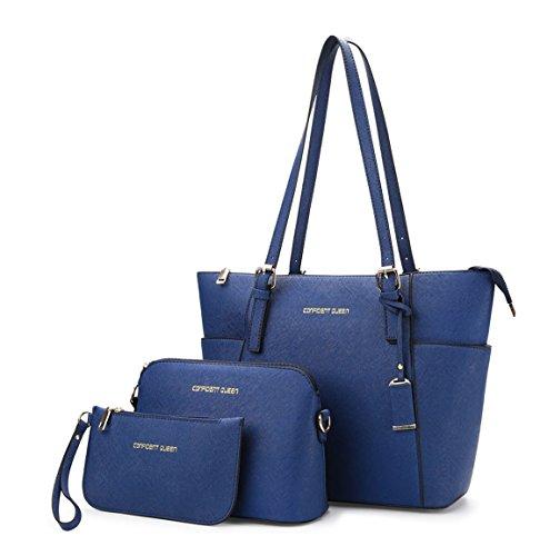 Mujer Shoppers y bolsos de hombro Bolsos bandolera Carteras de mano y clutches 3pcs Set Azul