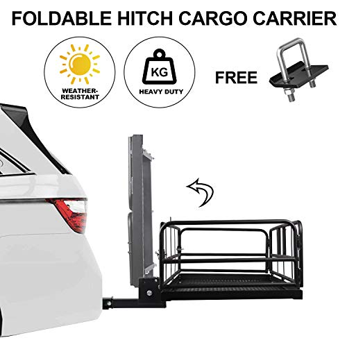 Rear Hitch Cargo Carrier Folding Basket with