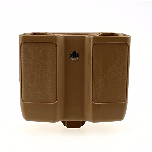 LIVIQILY Quick Draw Double Magazine Mag Pouch Case Stack Pistol Cartridge Clip Holder Duty Belt Mag Box for Colt 1911 (Tan)