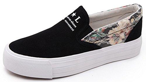 Idifu Damesschoenen Sweet Floral Print Platform Op Canvas Sneakers Lage Top Ronde Neus Loafers Zwart