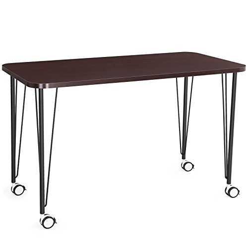 SONGMICS Computer desk, Study Table, Mobile Dining Table, Easy Assmblely, for Home and Office, Cappuccino, ULWD15CB by SONGMICS