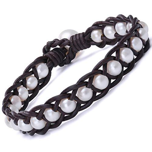 (Handbraided Leather Pearl Bracelet Womens Cultured Freshwater Pearl Beaded Bangle Handmade Jewelry 8'' Brown)