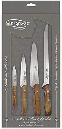 San Ignacio Set 4 cuchillos de cocina merlot, Acero Inoxidable, Multicolor